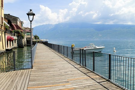 promenade in Gargnano on Garda lake in northern Italy Editorial