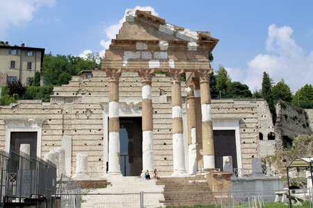 Ruins of the roman temple called Capitolium or Tempio Capitolino in Brescia in italy photo