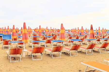 beach with umbrellas in Gatteo in Italy