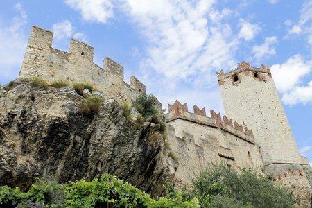 medioeval: Castle of Malcesine on Garda lake in Italy Editorial