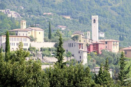 small medieval village on lake Garda in northern Italy photo