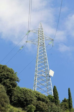 a high-voltage pylons for electricity photo