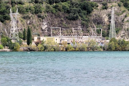 hydroelectric plant on the lake photo