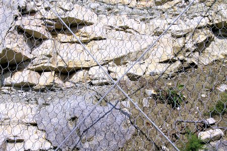 gabion mesh: stones imprisoned by wire mesh