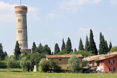 neogothic: Tower in neo-gothic style of the year 1893 in Italy Stock Photo