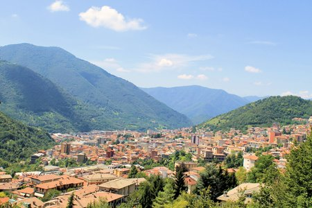 Aerial view of Lumezzane in north Italy photo