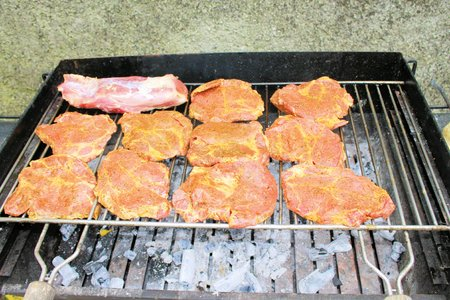 meat on an outdoor grill photo