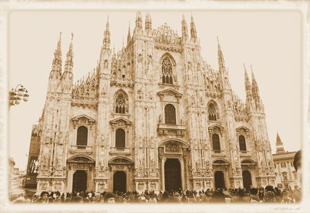 main facade of the famous cathedral of Milan in northern Italy