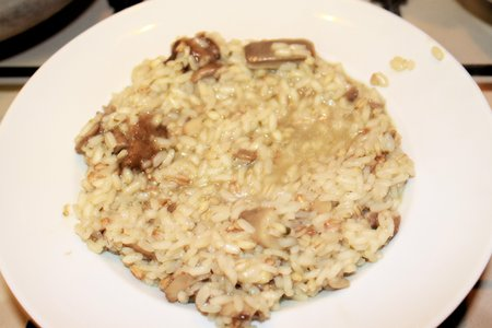 homemade rice with mushrooms and grated parmesan cheese