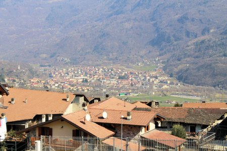 landscape of Camonica Valley in northern Italy photo