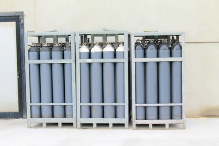 nitrogen: Cylinder of oxygen and nitrogen outside of a factory