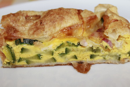 peppered: savory pie with bacon zucchini and cheese Stock Photo