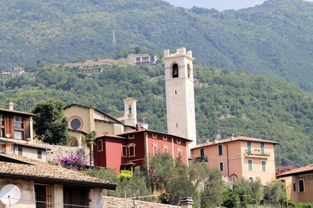landscape architecture: view of Fornico small village on Garda lake in Italy
