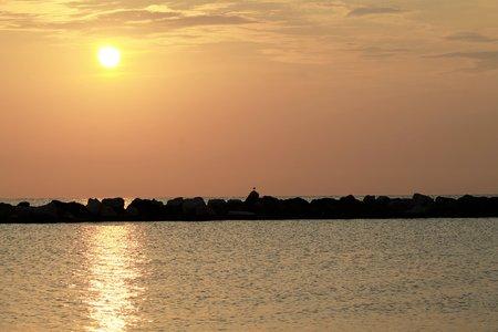 tyrrhenian: Gatteo beach on the Tyrrhenian Sea in Italy in the early morning