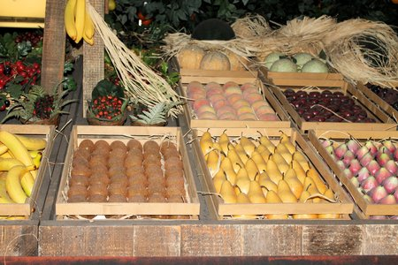 greengrocer: various fruits and vegetables in crates at greengrocer Stock Photo