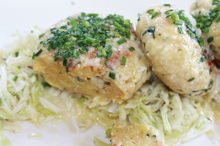 Tyrolean traditional dish, or Knodel dumplings with parsley