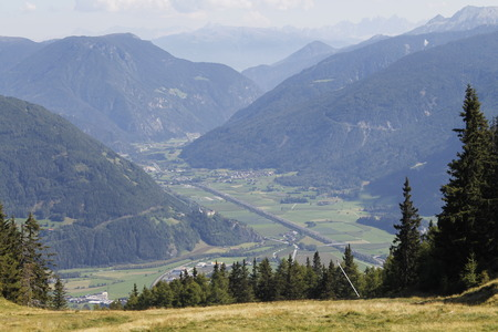 view of the Isarco Valley in south Tyrol in Italy Stock Photo