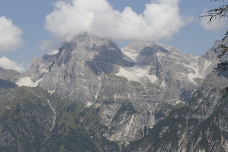 view of mountains with glacier on the Alps