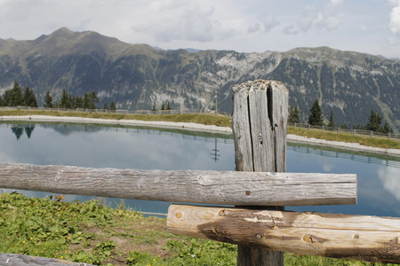 small alpine lake in the high mountains