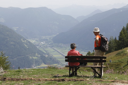 people in vacation in the higt mountains