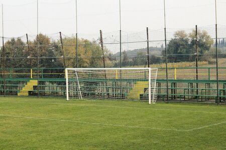 soccer goal door with white net.