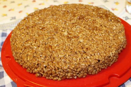 homemade cake with chocolate and puffed rice