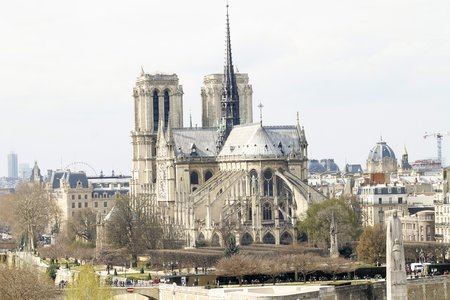 The Cathedral of Notre Dame in Paris, France. Notre Dame de Pari is a medieval Catholic cathedral