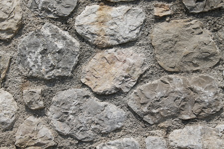 ancient wall with stone bricks Stock Photo