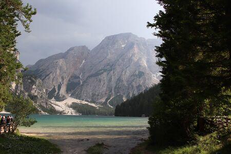 Braies lake at summer. Largest natural lake in Dolomites, South Tyrol, Italy, Europe. Zdjęcie Seryjne