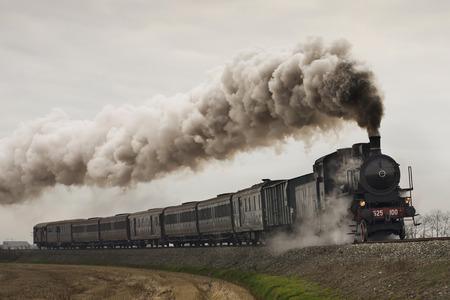 빈티지 블랙 증기 기차