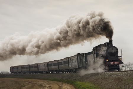 railway transports: vintage black steam train