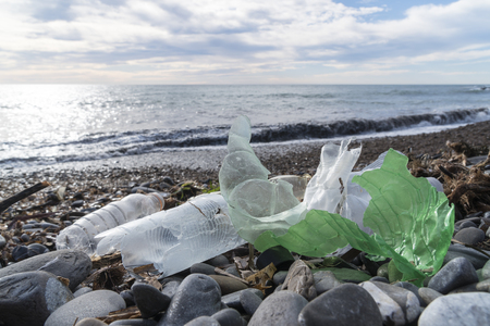 Marine pollution: plastic waste on the beach.