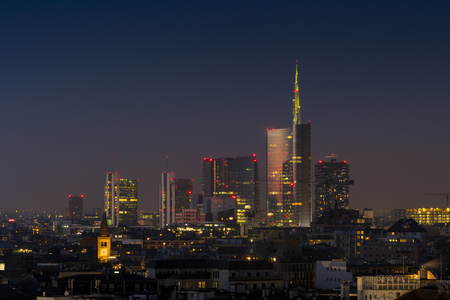 Milan skyline by night Editorial