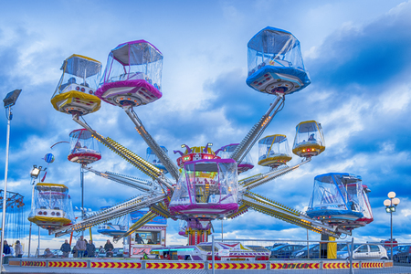 Imperia, Italy - January 10, 2018: Colorful carousel in running 新聞圖片