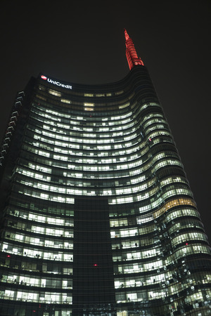 Milan, Italy - January 07, 2018: Unicredit Tower in Gae Aulenti square, night view.