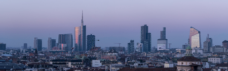 Milan, Italy - January 13, 2018: Milan skyline, panoramic view at sunset. Editorial