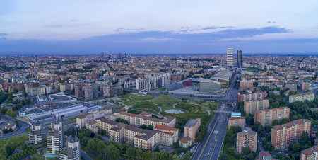 Aerial view of Milan at evening, Italy.