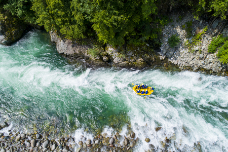 White water rafting on the alpine river. Sesia river, Piedmont, Italy.