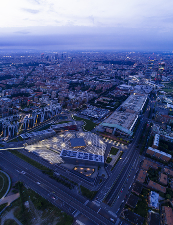 Milan cityscape, aerial view at dusk