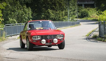 Valsesia, Italy - June 30, 2019: Classic car, vintage Lancia model Fulvia HF during a meeting for historic cars.