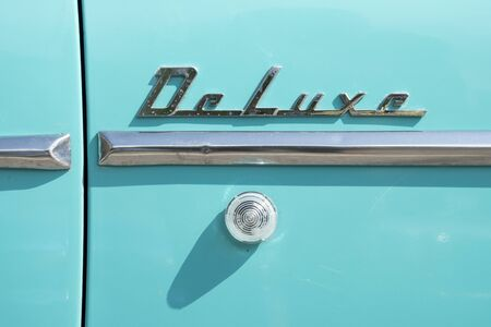 Valsesia, Italy - June 30, 2019: Classic car, detail of a 1950 Chevrolet De Luxe during a meeting for historic cars.