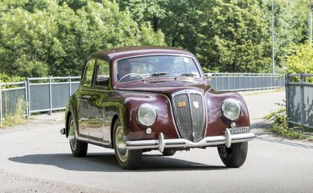 Valsesia, Italy - June 30, 2019: Classic car, a vintage Lancia model Appia during a meeting for historic cars.
