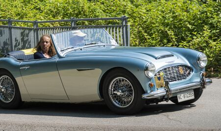 Valsesia, Italy - June 30, 2019: Classic car, vintage Austin Healey during a meeting for historic cars.