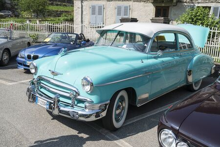 Valsesia, Italy - June 30, 2019: Classic car, 1950 Chevrolet De Luxe during a meeting for historic cars.