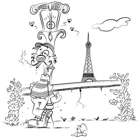 oldtown: A romantic cat with a striped sweater leans against a streetlamp in old-town Paris, smoking a cigarette  On the background behind a low wall, the Tour Eiffel