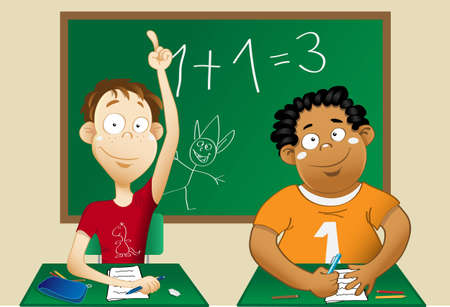 A white child and an afro child at school, smiling and sittind at their bench  One raises his hand to answer the teacher   On the background a doodled blackboard  Vector
