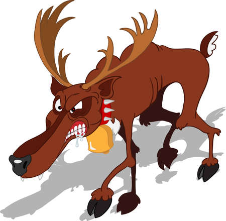 dreadful: A dreadful Santa Claus  reindeer looks aggressive and shows his teeth  Illustration