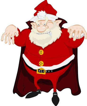 dreadful: A dreadful Santa Claus with a vampire cloak, looks aggressive and shows his teeth