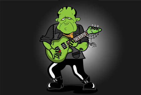 Frankenstein plays an electric guitar with skulls, spiders and web  He has various scars and a skull tattoo  Vector