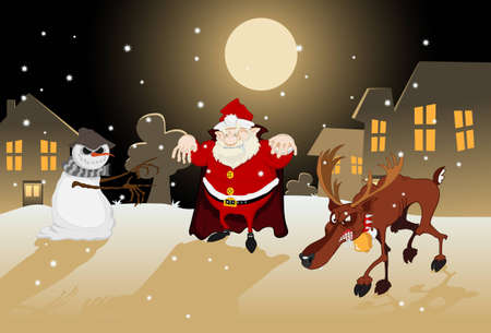 dreadful: A dreadful Santa Claus with a vampire cloak, an aggressive reindeer showing his teeth and a threatening Jack Frost reaching out with its twigs to catch someone  It s a cold winter night with snow and a full moon